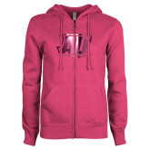 ENZA Ladies Fuchsia Fleece Full Zip Hoodie-AU  Foil