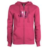 ENZA Ladies Fuchsia Fleece Full Zip Hoodie-AU  Foil