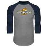 Grey/Navy Raglan Baseball T Shirt-Averett University Cougars