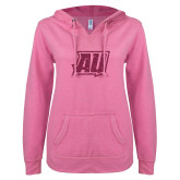 ENZA Ladies Hot Pink V Notch Raw Edge Fleece Hoodie-Primary Mark Hot Pink Glitter