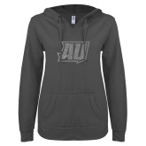 ENZA Ladies Dark Heather V Notch Raw Edge Fleece Hoodie-Primary Mark Silver Soft Glitter