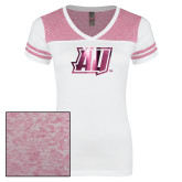 Ladies White/Heathered Pink Juniors Varsity V Neck Tee-AU  Foil