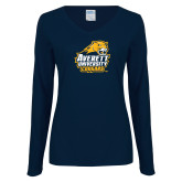 Ladies Navy Long Sleeve V Neck T Shirt-Primary Mark