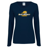 Ladies Navy Long Sleeve V Neck T Shirt-Averett University Cougars