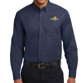 Navy Twill Button Down Long Sleeve-Averett University Cougars