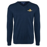Classic Mens V Neck Navy Sweater-Averett University Cougars