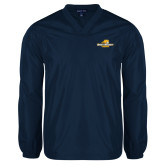 V Neck Navy Raglan Windshirt-Averett University Cougars