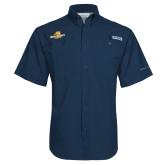 Columbia Tamiami Performance Navy Short Sleeve Shirt-Averett University Cougars