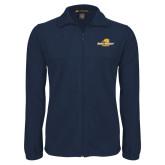 Fleece Full Zip Navy Jacket-Averett University Cougars