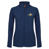 Ladies Fleece Full Zip Navy Jacket-Averett University Cougars