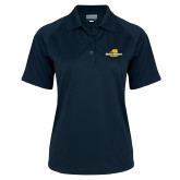 Ladies Navy Textured Saddle Shoulder Polo-Averett University Cougars