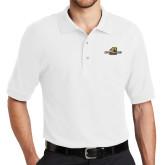 White Easycare Pique Polo-Averett University Cougars