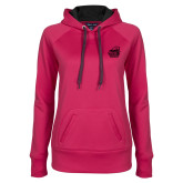 Ladies Pink Raspberry Tech Fleece Hoodie-Primary Mark