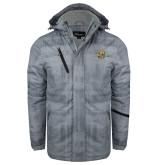 Grey Brushstroke Print Insulated Jacket-Averett University Cougars