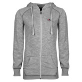 ENZA Ladies Grey/Black Marled Full Zip Hoodie-AXIOS Industrial Maintenance