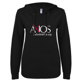 ENZA Ladies Black V Notch Raw Edge Fleece Hoodie-AXIOS Industrial Group
