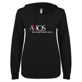 ENZA Ladies Black V Notch Raw Edge Fleece Hoodie-AXIOS Industrial Maintenance