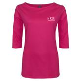 Ladies Dark Fuchsia Perfect Weight 3/4 Sleeve Tee-AXIOS Industrial Group