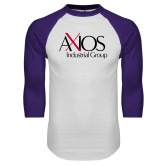 White/Purple Raglan Baseball T Shirt-AXIOS Industrial Group
