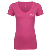 Next Level Ladies Junior Fit Ideal V Pink Tee-AXIOS Industrial Group