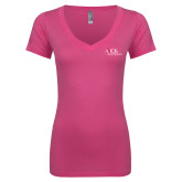 Next Level Ladies Junior Fit Ideal V Pink Tee-AXIOS Industrial Maintenance