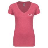 Next Level Ladies Vintage Pink Tri Blend V Neck Tee-AXIOS Industrial Group