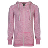 ENZA Ladies Hot Pink Marled Full Zip Hoodie-AXIOS Industrial Maintenance