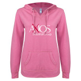 ENZA Ladies Hot Pink V Notch Raw Edge Fleece Hoodie-AXIOS Industrial Group