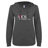 ENZA Ladies Dark Heather V Notch Raw Edge Fleece Hoodie-AXIOS Industrial Maintenance