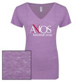 ENZA Ladies Violet Melange V Neck Tee-AXIOS Industrial Group