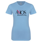 Ladies SoftStyle Junior Fitted Light Blue Tee-AXIOS Industrial Group