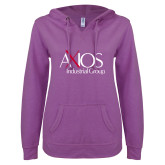 ENZA Ladies Berry V Notch Raw Edge Fleece Hoodie-AXIOS Industrial Group