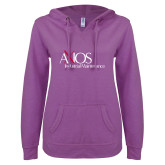 ENZA Ladies Berry V Notch Raw Edge Fleece Hoodie-AXIOS Industrial Maintenance