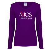 Ladies Purple Long Sleeve V Neck Tee-AXIOS Industrial Group