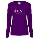 Ladies Purple Long Sleeve V Neck Tee-AXIOS Industrial Maintenance