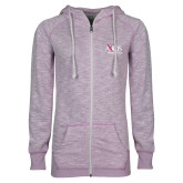 ENZA Ladies Hot Violet Marled Full Zip Hoodie-AXIOS Industrial Group