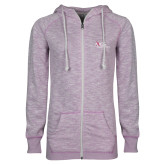 ENZA Ladies Hot Violet Marled Full Zip Hoodie-AXIOS Industrial Maintenance