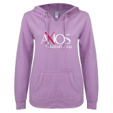 ENZA Ladies Hot Violet V Notch Raw Edge Fleece Hoodie-AXIOS Industrial Group