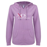 ENZA Ladies Hot Violet V Notch Raw Edge Fleece Hoodie-AXIOS Industrial Maintenance