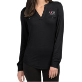 Ladies Lux Black Split Neck Blouse-AXIOS Industrial Group