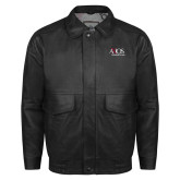 Black Leather Bomber Jacket-AXIOS Industrial Group