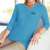 Ladies V Notch Light Blue 3/4 Sleeve Shirt-AXIOS Industrial Group