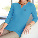 Ladies V Notch Light Blue 3/4 Sleeve Shirt-AXIOS Industrial Maintenance