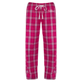 Ladies Dark Fuchsia/White Flannel Pajama Pant-AXIOS Industrial Maintenance