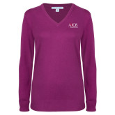 Ladies Deep Berry V Neck Sweater-AXIOS Industrial Group