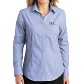 Ladies Light Blue Crosshatch Poplin Long Sleeve Shirt-AXIOS Industrial Maintenance
