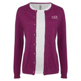 Ladies Deep Berry Cardigan-AXIOS Industrial Group