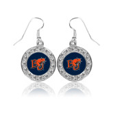 Crystal Studded Round Pendant Silver Dangle Earrings-BU Wildcat