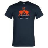 Navy T Shirt-Wrestling Design