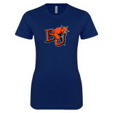 Next Level Ladies SoftStyle Junior Fitted Navy Tee-BU Wildcat